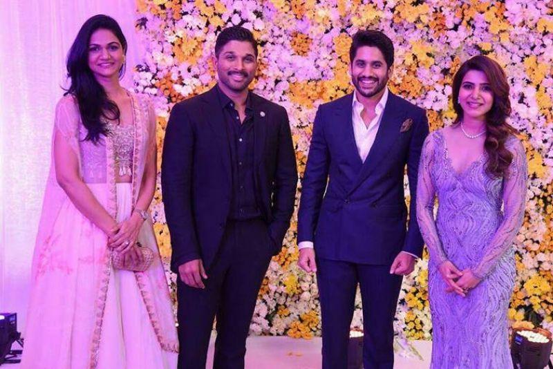 Allu Arjun, wife attend Samantha - Naga Chaintanya Wedding Reception