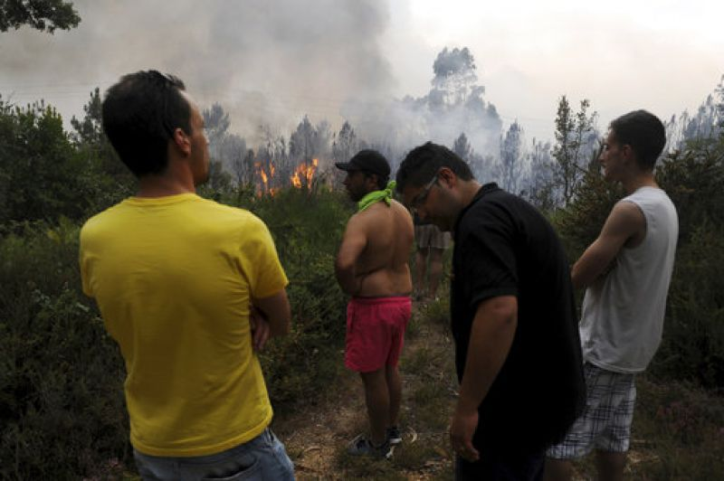 A huge wall of thick smoke and bright red flames towered over the tops of trees in the forested Pedrogao Grande area.
