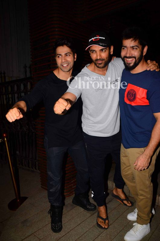 'Dishoom' team, Varun, his brother Rohit and John Abraham pose in style.