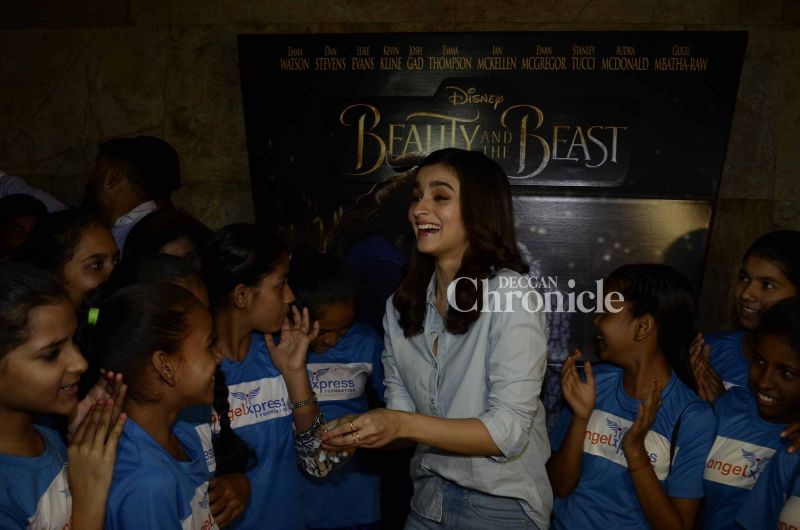 Alia seemed delighted to spend time with the young ones.