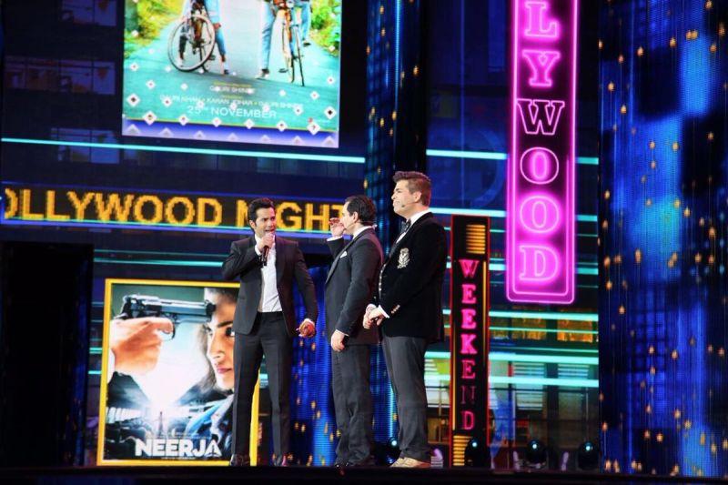 Varun Dhawan was awarded Best Performance in a Comic Role for 'Dishoom' by Karan Johar and Saif Ali Khan.