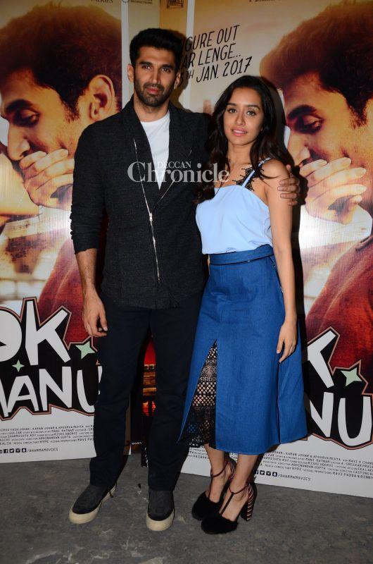 Aditya Roy Kapur and Shraddha Kapoor were seen promoting their film 'OK Jaanu'.