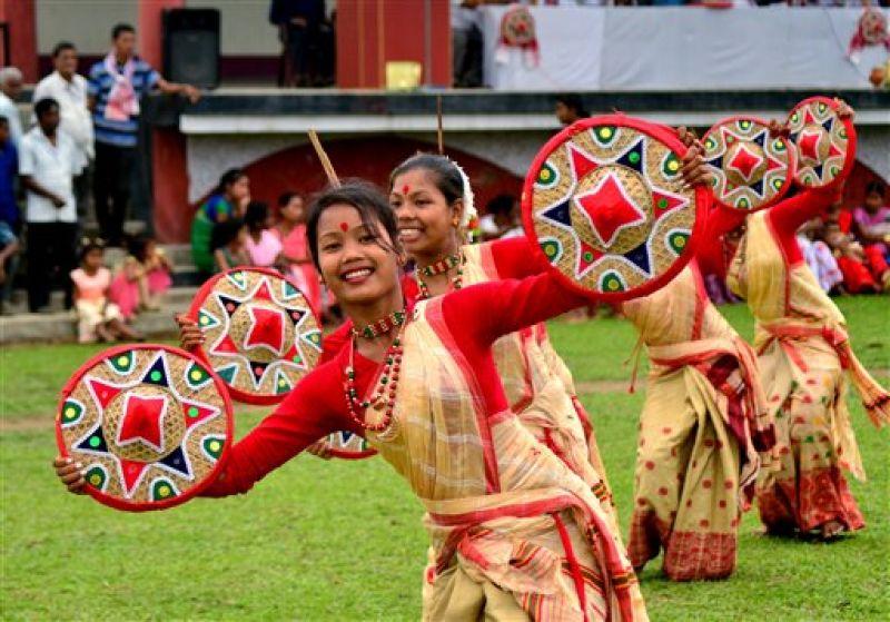Assamese girls dance during the 'Suwori festival' as part of the Rongali Bihu celebration in Boko.  (Photo: AP)
