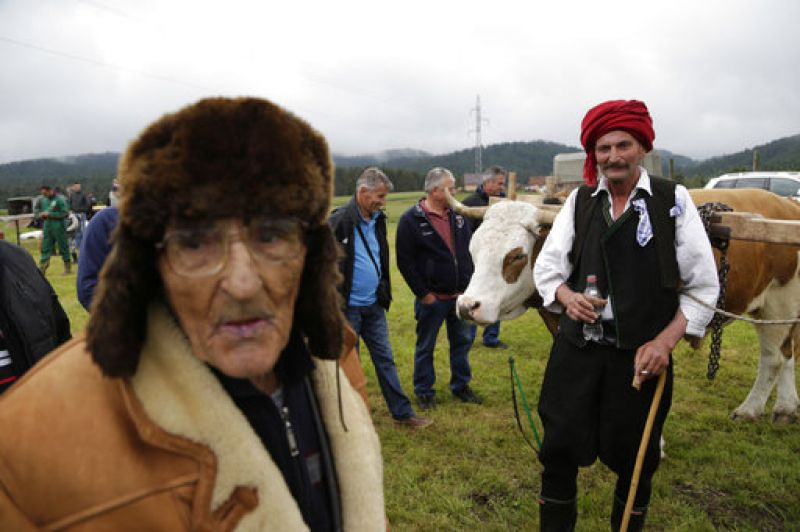 A Bosnian man poses for photo with his bulls during a competition in the town of Sokolac, Bosnia, on Sunday, June 18, 2017.  (Photo: AP)