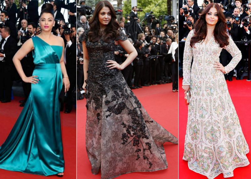 Cannes 2013: Aishwarya stunned with a teal one-shoulder Gucci Premiere gown, a black gown by Elie Saab and an Anarkali dress by Abu Jani-Sandeep Khosla.