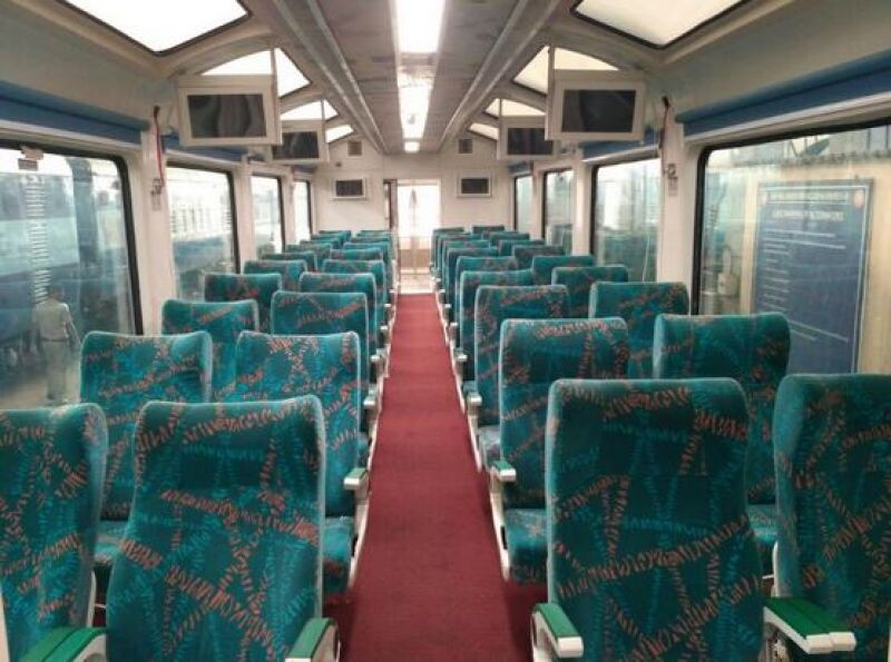 It also has an observation lounge that offer passengers a panoramic view of the sites along the 128-km rail route from Visakhapatnam to Araku valley hill station. (Photo: Suresh Prabhu/Twitter)