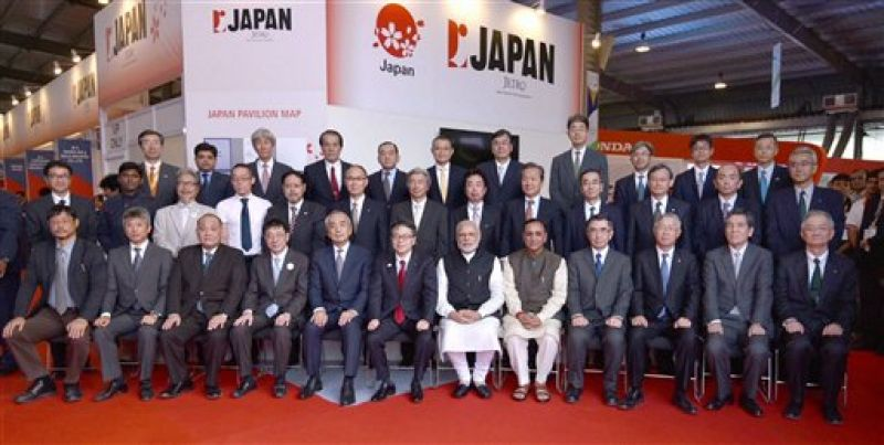 Gandhinagar: Prime Minister Narendra Modi in the Global Trade Show, on the sidelines of the Vibrant Gujarat 2017, at Exhibition Ground, in Gandhinagar, Gujarat on Monday. Chief Minister of Gujarat, Vijay Rupani is also seen. (Photo: PTI)