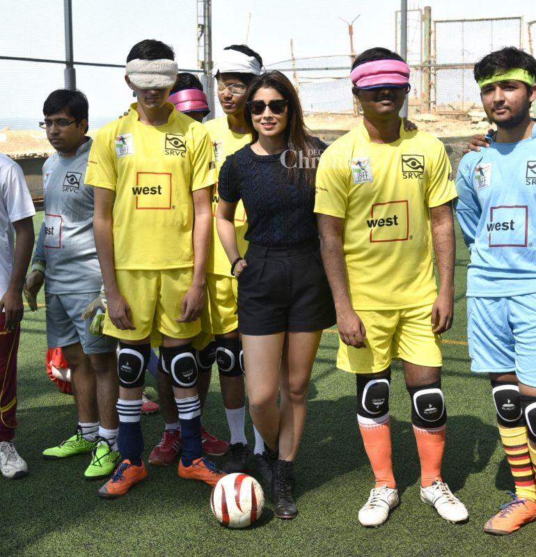 Shriya Saran was snapped at a blind football event.