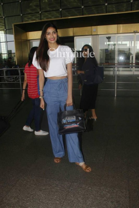 Athiya Shetty was snapped at the airport.