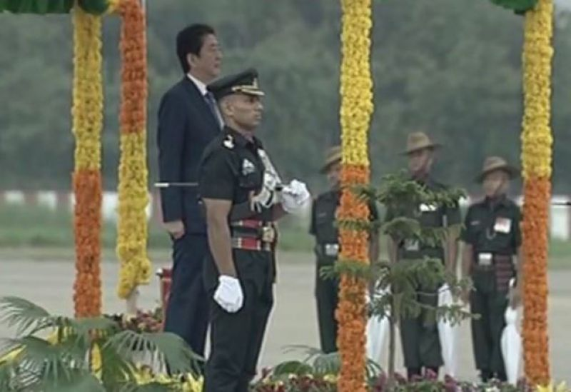 Japanese PM Shinzo Abe accorded ceremonial reception on his arrival at Ahmedabad Airport. (Photo: ANI | Twitter)