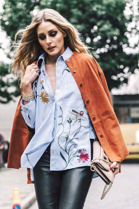 Whether it's wool and suede (as seen on Nilu) or leather, suede and cotton ala fashion influencer Olivia Palermo, mixing textures with embroidery is another great way to experiment with this trend