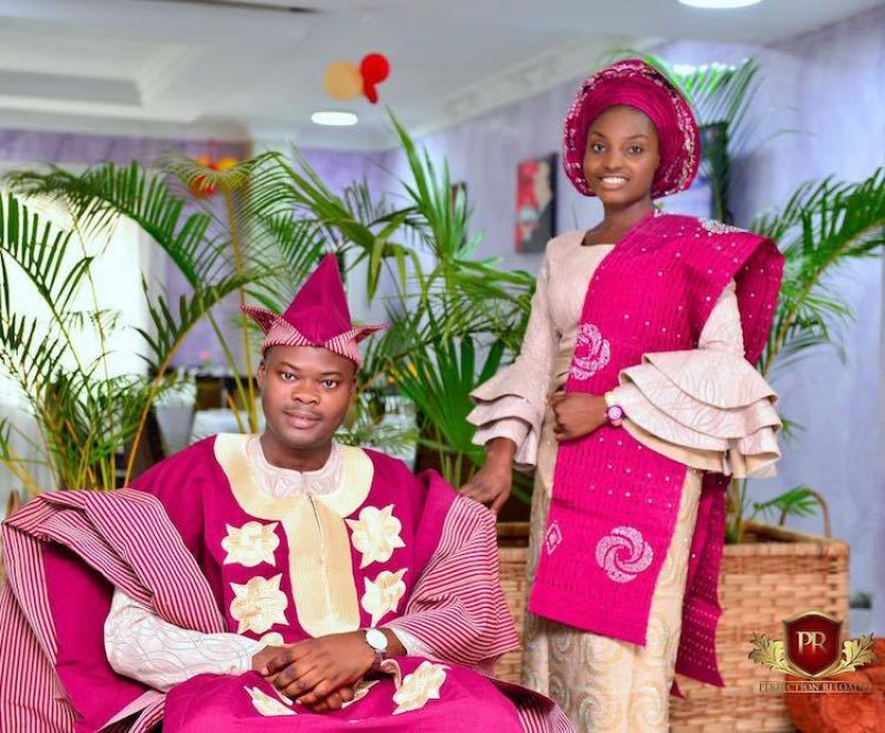 This couple from Nigeria has worn some interesting headgear for their wedding.