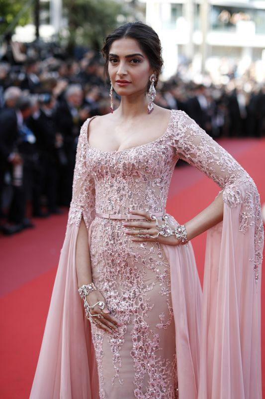 Sonam Kapoor Poses For Photographers On The Red Carpet Before Attending Screening Of Meyerowitz
