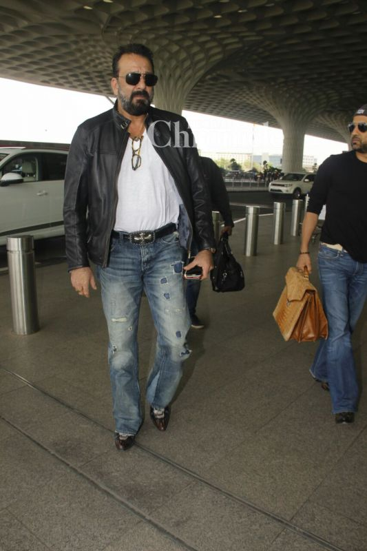 Sanjay Dutt was seen in style at the airport.