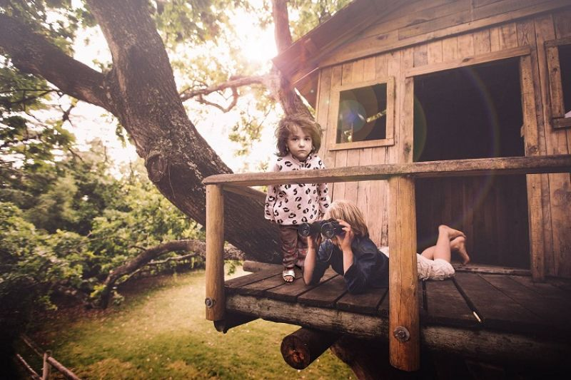 Playing in a treehouse is what most children imagine their life to be and the Syrian children are certainly not having it.
