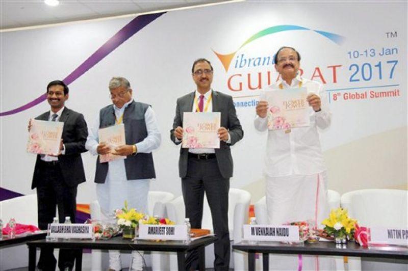 Gandhinagar: Union I & B Minister M Venkaiah Naidu releases a publication during the Vibrant Gujarat Global Summit 2017 at Mahatma Mandir in Gandhinagar, Gujarat on Wednesday. (Photo: PTI)