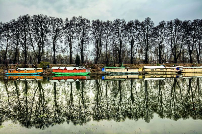 The scenic Dal Lake and its reflection.