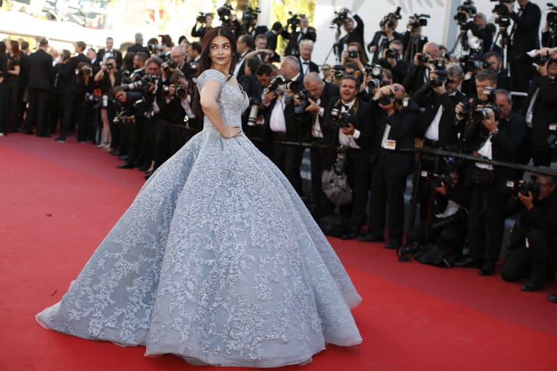Aishwarya was dressed in a pristine gown by Micheal Cinco for this year's festival. (Photo: AP)