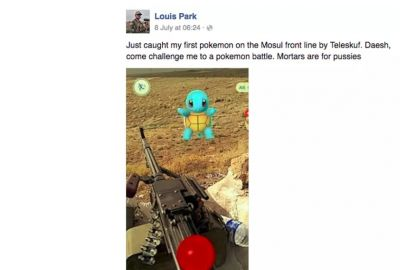 US soldier fighting ISIS caught Pokemon Go on the front line (Photo Courtesy: Facebook)
