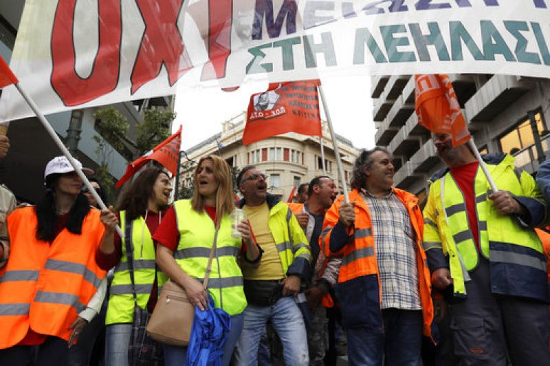 Thousands of protesters were marching through central Athens toward parliament in a series of demonstrations as part of the strike.