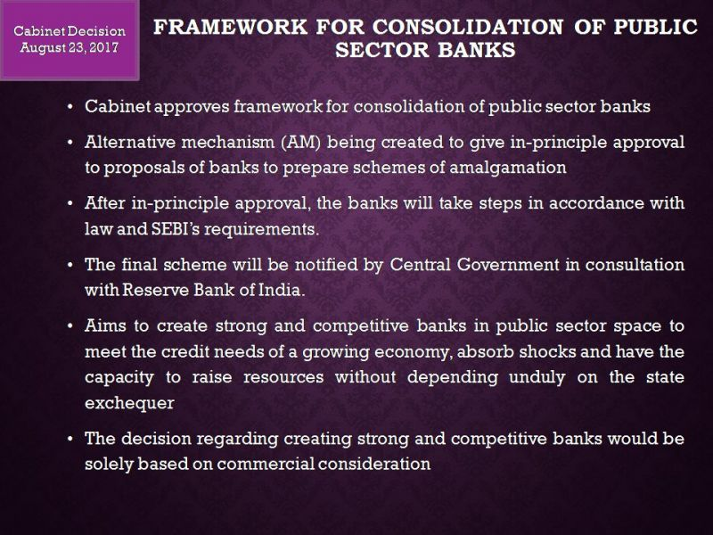 Government to set up Alternative Mechanism for banks' consolidation