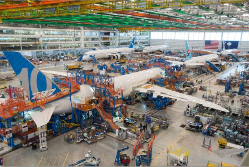 The Boeing 787-10 Dreamliner being assembled at the Boeing hangar.