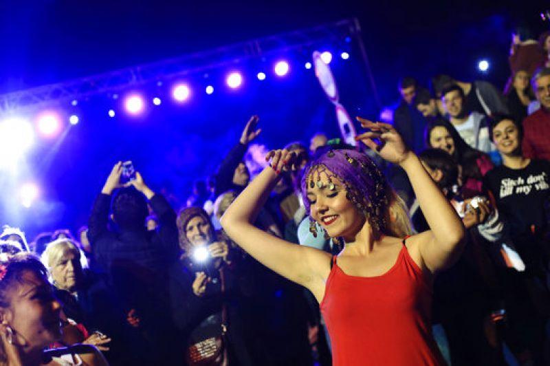 A woman dances during 'Hidirellez' festival celebrations in Edirne. (Photo: AP)