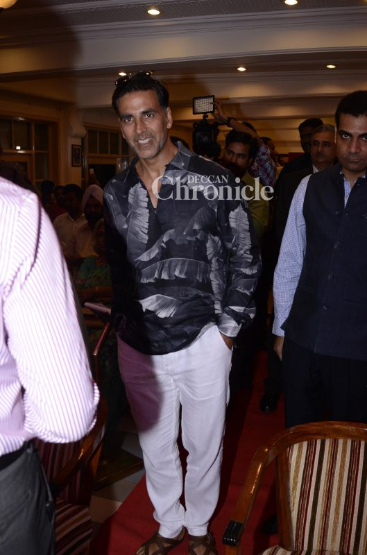 Akshay Kumar was snapped at a book launch.
