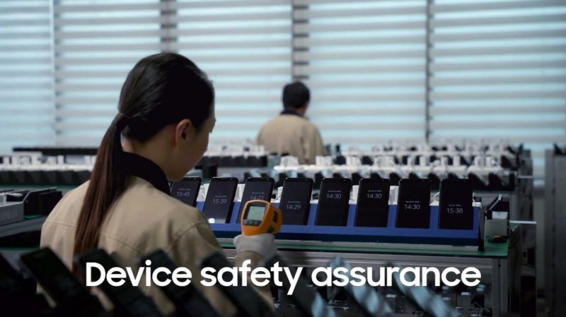Samsung employee inspecting each device under the guidelines and objective criteria.