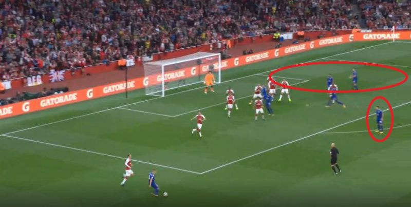 The Arsenal defenders were caught ball-watching as Leicester took the short corner, leaving the far post unguarded. (Photo: Screengrab)