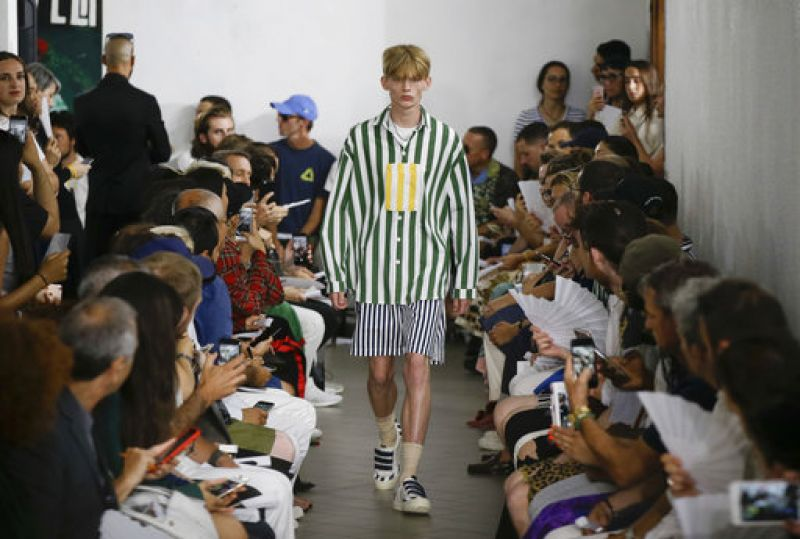 A model wears a creation part of the Sunnei men's Spring-Summer 2018 collection, that was presented in Milan, Italy, Sunday, June 18, 2017. (AP Photo/Luca Bruno)