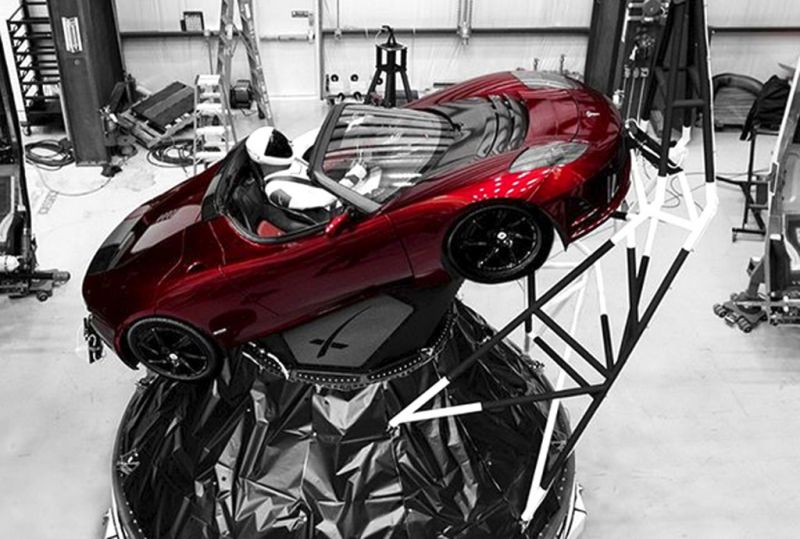 """A mannequin """"Starman"""" sits at the wheel of a Tesla Roadster in this photo posted on the Instagram account of Elon Musk, head of auto company Tesla and founder of the private space company SpaceX. The car will be on board when SpaceX launches its new rocket, the Falcon Heavy, from Kennedy Space Center at Cape Canaveral."""