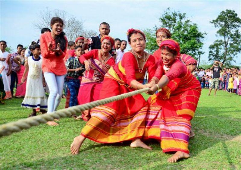 Women take part in a tug of war during the 'Suwori festival' in Assam.  (Photo: AP)
