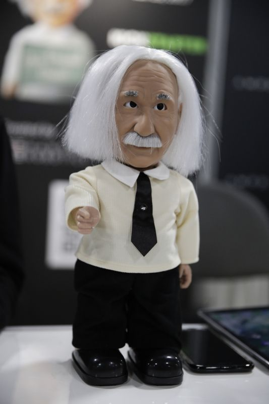 Educational robot Professor Einstein is on display at CES International Friday, Jan. 6, 2017, in Las Vegas. (AP Photo/Jae C. Hong)