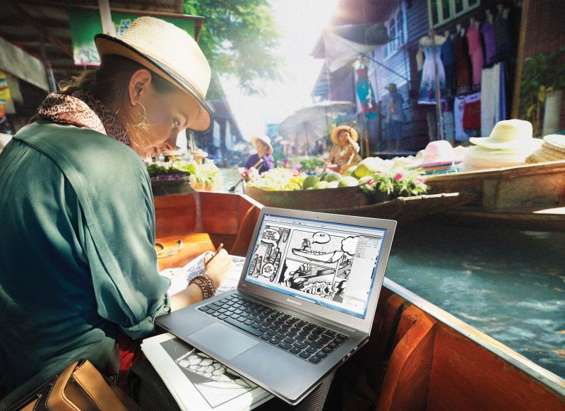 The Lenovo campaign at the Floating Market in Bangkok.