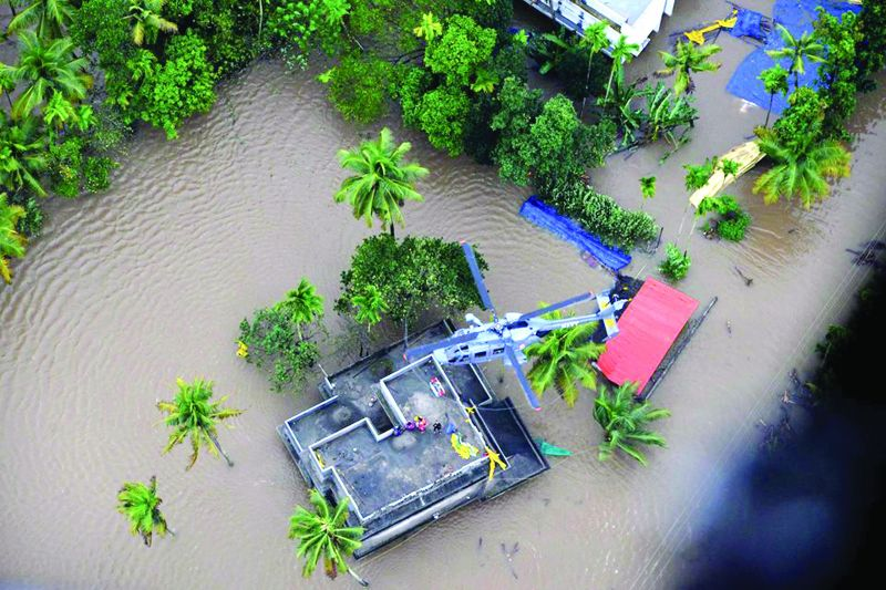 Navy chopper engaged in rescue operations in flood-hit Kerala.