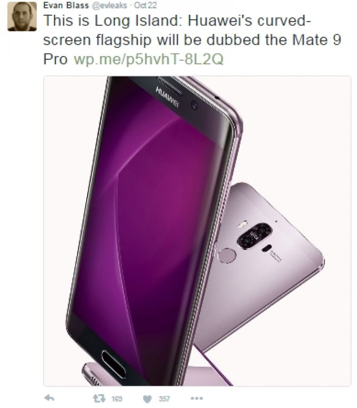 Leaked image shows Huawei Mate 9, Mate 9 Pro in 'purple ...
