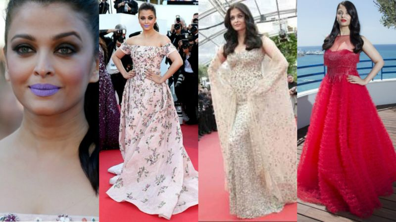 Cannes 2016: This appearance of the actress made news for the dash of purple on her lips which was heavily trolled. The actress was dressed in a Rami Kadi floral gown, an embellished pink-gold Elie Saab gown and a red ruffled gown from Naeem Khan during the film festival.