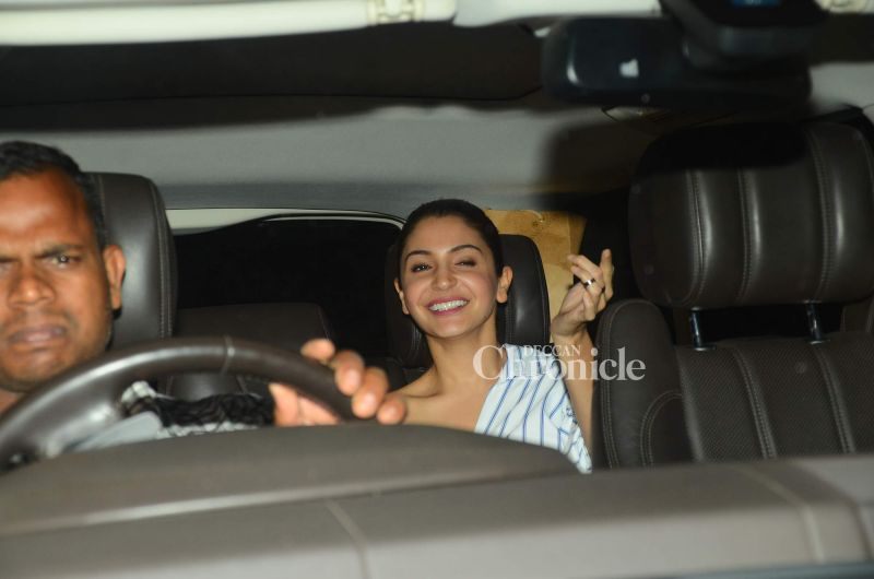 Anushka Sharma was in a jovial mood on her way to the screening.