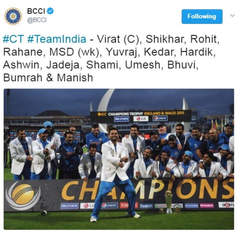Indian selectors name 15-member squad for Champions Trophy