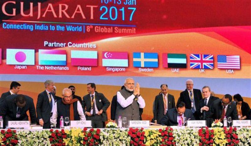 Gandhinagar: Prime Minister Narendra Modi and other dignitaries at the inauguration ceremony of the Vibrant Gujarat Global Summit 2017, at Mahatma Mandir, in Gandhinagar, Gujarat on Tuesday. (Photo: PTI)