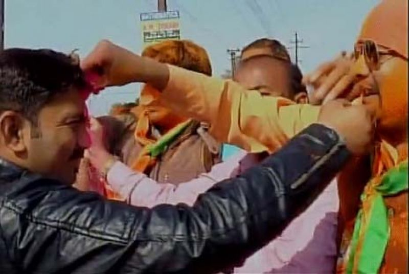 BJP party workers celebrating in Kanpur.