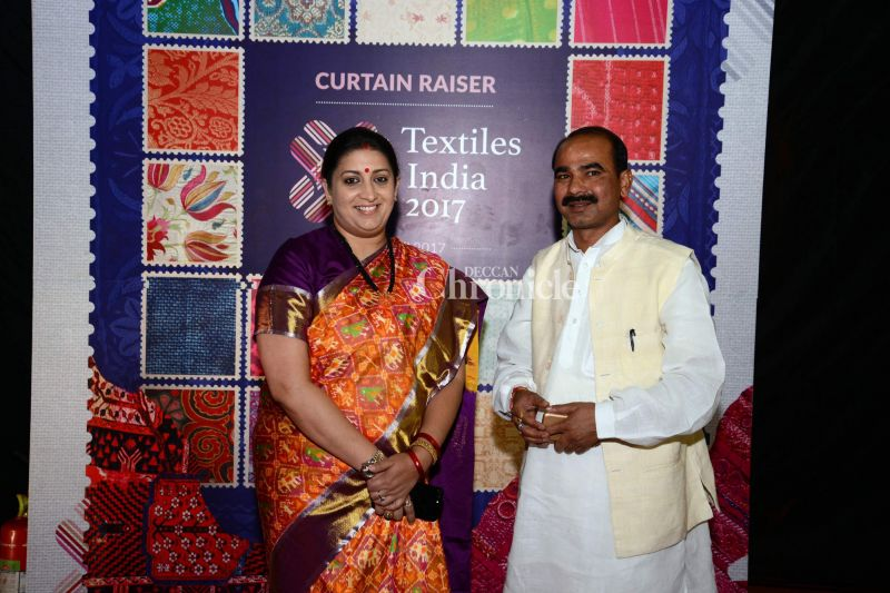 Smriti Irani was seen at a fashion show for Textiles Day.