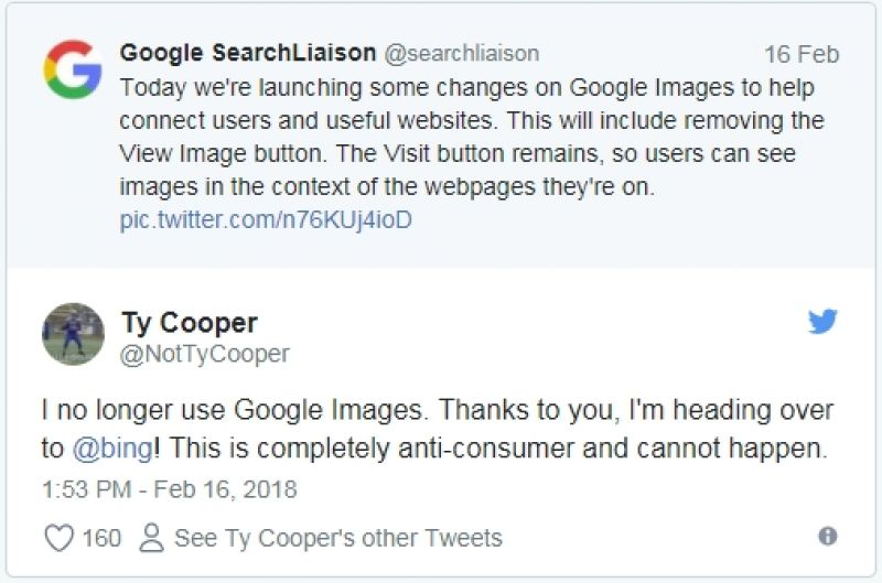 Twitter reaction to Google Image search issue