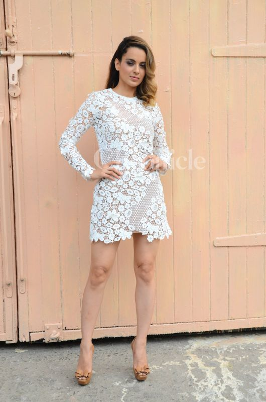 Dressed in a white lacy bodycon dress, Kangana Ranaut looked drop-dead gorgeous as she stepped out to promote her upcoming film 'Rangoon'.