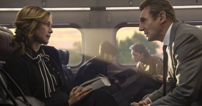 Liam Neeson and Vera Farmiga in the still from 'The Commuter'.