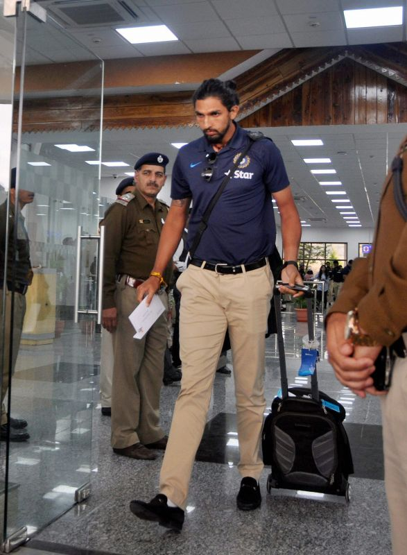 Ishant Sharma, who bowled his heart out in the Ranchi Test, looks in a sombre mood, as he arrived at the Kangra Airport, in Dharamshala. (Photo: PTI)