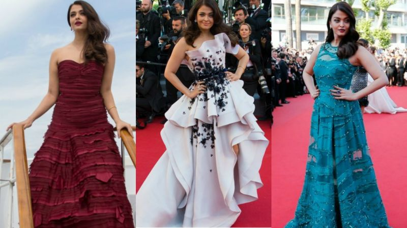 Cannes 2015: Aishwarya's white Ralph and Russo couture gown, a maroon strapless outfit by Oscar de la Renta and a green gown by Elie Saab impressed the fashion police.
