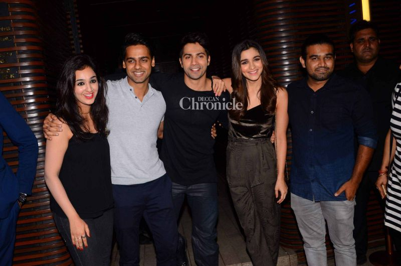 (L-R) The starcast of the film, Sukhmani Lamba, Gaurav Pandey, Varun, Alia and Sahil Vaid pose together.