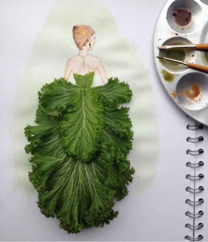 Who would've thought that ballgowns made of lettuce leaves could look so pretty.